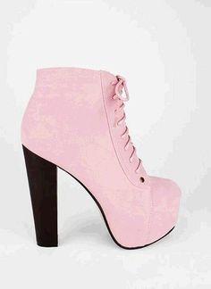 Stylish pastel pink ankle boots, pastel pink platform heeled ...