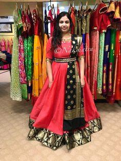 Pin by Ranjitha Mahabhashyam on Long dress in 2019 Half Saree Designs, Lehenga Designs, Saree Blouse Designs, Saree Gown, Sari Dress, Anarkali Dress, Anarkali Suits, Kalamkari Dresses, Ikkat Dresses
