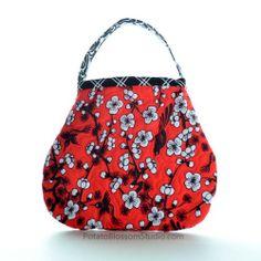 Handmade Purse for little girl quilted red retro bird | KatrinaRobb - Children's on ArtFire