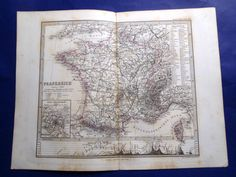 1870 FRANKREICH FRANCE FRANCIA 100% GENUINE ANTIQUE MAP ENGRAVING JUSTUS PERTHES #JUSTUSPERTHES
