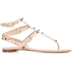 Valentino Garavani 'Rockstud' sandals (€760) ❤ liked on Polyvore featuring shoes, sandals, leather sandals, ankle tie sandals, flats sandals, valentino shoes and leather flats