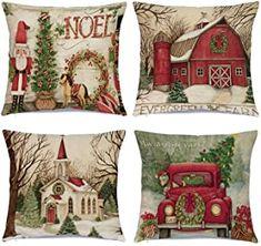 Amazon.com : christmas decorations Plaid Throw Pillows, Fall Pillows, Throw Pillow Cases, Cushion Pillow, Accent Pillows, Christmas Cushion Covers, Christmas Cushions, Christmas Bedding, Xmas