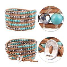 Handmade 5 Wrap Bracelet Turquoise & Silver Beads Fashion Leather Bangle Jewelry #Unbranded #BangleBeadedcharmcuff