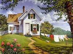 Summer Breeze – can't wait and its not even winter! Summer Breeze – can't wait and its not even winter! Thomas Kinkade, Country Art, Country Life, Life Paint, Naive Art, Summer Breeze, Farm Life, My Dream Home, Home Art