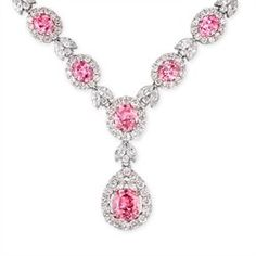 CZ Necklace - CZ Pink Sapphire Oval Design Necklace 16 inches