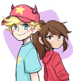 Genderbent Marco and Star Anime Vs Cartoon, Cartoon Fan, Cartoon Art Styles, Cartoon Shows, Desenhos Gravity Falls, Star Force, Anime Version, Star Butterfly, Force Of Evil