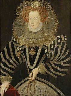 Elizabeth I by William Faithorne, National Trust Collection. Painted 87 years after her death. Tudor History, Art History, British History, Croft Castle, Elizabethan Fashion, Renaissance Era, Renaissance Clothing, Dark Portrait, Mary Stuart