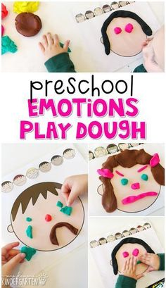 Preschool: All About Me - Mrs. Plemons' Kindergarten - Preschool: All About Me – Mrs. Plemons' Kindergarten This emotions play dough mat is a great way to reinforce emotion vocabulary. Great for tot school, preschool, or even kindergarten! Feelings Preschool, Teaching Emotions, Preschool Lessons, Preschool Classroom, Preschool Learning, In Kindergarten, All About Me Preschool Theme, Preschool Ideas, Preschool Art Centers