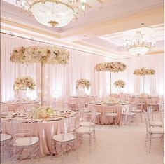 | aboutdetailsdetails.com | blush, light pink room, tall centerpieces, hanging bulbs, cute girly, reception