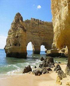 Praia da Marinha, Portugal -- You have to see this beach to believe it. It is picture perfect. Located between Armação de Pêra and Carvoeiro, Praia da Marinha is a small cove beach that nestles snugly at the base of rocky outcrops. If you tried to imagine the most picturesque beach possible, you probably still wouldn't do it justice. Wide meandering steps take you from the cliff top car park to the beach below.