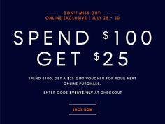 Spend $100, Get $25