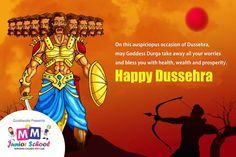 On this auspiciopus occasion of Dussehra, may Goddess Durga take away all your worries and bless you with health, wealth and prosperity. Happy Dussehra