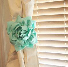 TWO Dahlia Flower Curtain Tie Backs Curtain Tiebacks by bedbuggs