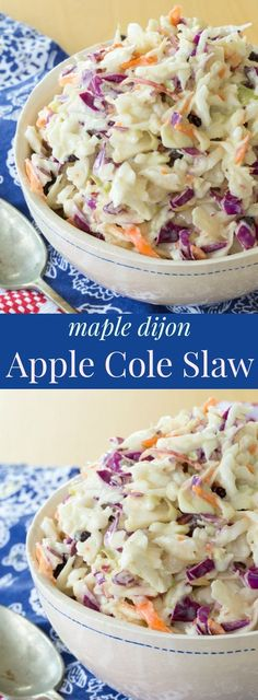 Maple Dijon Apple Cole Slaw - the classic salad recipe with a healthy fall twist