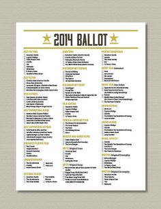 2014 Printable Oscar Ballot Party Pack by getpartychic on Etsy, $7.99