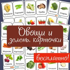 СКАЧАЙ БЕСПЛАТНО!  Овощи и зелень, карточки 32 карточки для разных игр. Красивые и четкие изображения