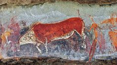 In the well-known painting from Game Pass Shelter at Drakensberg, referred to as the Rosetta Stone of South African rock art, it was here that a vital key to understanding the symbolism of the San Bushman rock art paintings. History Of Agriculture, Africa Rocks, Art Rupestre, Cave Drawings, Art And Technology, Prehistory, Rock Art, Painted Rocks, Moose Art