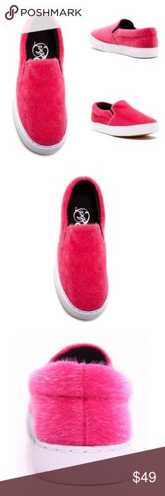 """Fuchsia Faux Pony Hair Slip on Sneakers Modern Rebel as sold in Nordstrom Fuchsia Faux pony hair and white slip on sneakers. Fit true to size. Cushioned sides with approx 1.25"""" platform.  Mad made sole. Sold out online! Get yours while they last. To order a size please comment below and I will check availability. Modern Rebel Shoes Sneakers"""