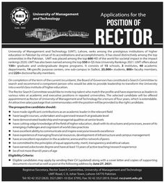 University of Management and Technology jobs 2021: Job Vacancy in University of Management and Technology (UMT) for the position of Director. Asia University, University Rankings, Education In Pakistan, Job Info, Top Universities, Equal Opportunity, Higher Education, Leadership, Management