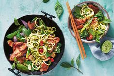 Tossed with crisp veg, zucchini noodles and aromatic herbs, this marinated sweet and sticky pork feels indulgent but it's under 500 calories!