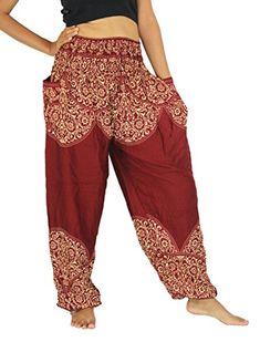 NaLuck Womens Boho Hippie Sunflower Jumpsuit Rayon Smocked Waist Yoga Aladdin Harem Pants PJ05Crimson2 -- Visit the image link more details.