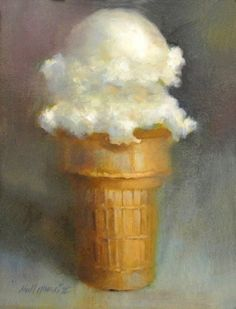 Vanilla Ice cream Cone 14 x11 Oil on canvas, painting by artist Hall Groat II