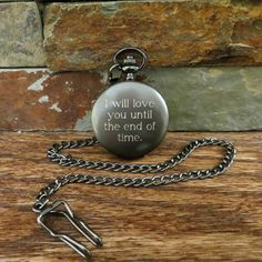 Custom Quote Engraved Gunmetal Pocket Watch- Personalized-  Monogrammed-  Gifts for Men- Best man - Groomsman- Christmas (775) by tiposcreations on Etsy https://www.etsy.com/listing/503018727/custom-quote-engraved-gunmetal-pocket