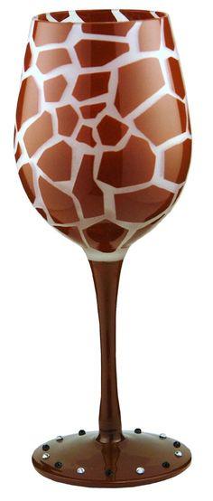 Amazon.com: Bottom's Up 15-Ounce Giraffe Handpainted Wine Glass: Kitchen & Dining