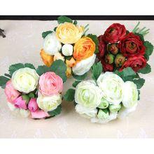1 manojo 9 jefe ramo de la boda para novia Hydrangea Posy ramo de seda flores artificiales Floral de la boda Brial en Stock nave libre(China (Mainland))