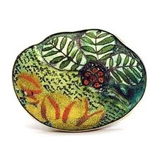 jamie bennett brooch........Connie Fox: Most of Jamie's pieces I have seen usea pastel color palate. This richly colored brooch takes me right to a tropical garden.