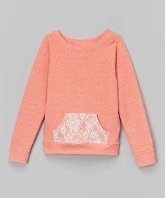 Look what I found on #zulily! Coral Fleece Lace Pocket Sweatshirt - Girls #zulilyfinds