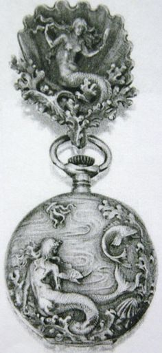 A gold Tiffany & Co. pocket watch, picturing two sirens.
