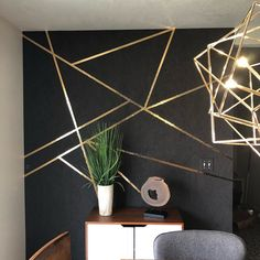The geo lines dressed the accent walls. Fabricut Muse Arabica is the black wallpaper, then gold foil Mylar tape is the free form design… Art Deco Bedroom, Bedroom Wall Designs, Accent Wall Bedroom, Gold Bedroom, Accent Wall Designs, Form Design, Deco Design, Design Design, Feature Wall Design