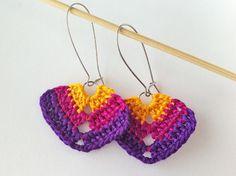 Dark Violet Fuchsia Yellow Triangle Crochet Earrings by ellascolor, $5.00