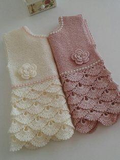 Crochet Baby Dress Handknit Pink Baby Gown Ivory Crochet   Etsy