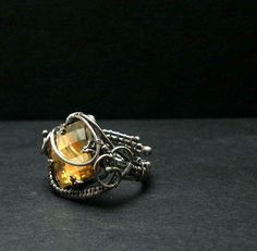 Luxury silver wire wrapped ring with gold by MadeBySunflower, $120.00