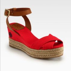 cb47e6d34 Tory Burch Shoes | Tory Burch Red Karissa Espadrille Wedge | Color: Red |  Size