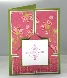 Thank You card via Stampin' Pretty blog.  Layout.