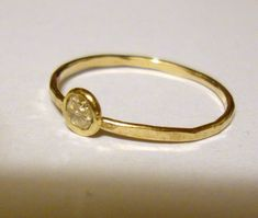 Ring Moissanite in 10k gold, Simple, ethical, eco friendly, fine jewelry made custom in your size - April, engagement, 3mm. $99.00, via Etsy.