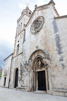 The medieval Cathedral of St Mark in the town of Korcula, Croatia