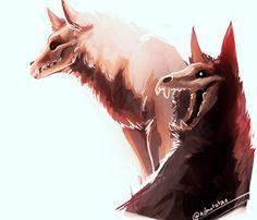 Cute Wolf Drawings, Creepy Drawings, Animal Drawings, Manga Dragon, Dragon Art, Fantasy Wolf, Dark Fantasy Art, Mythical Creatures Art, Fantasy Creatures