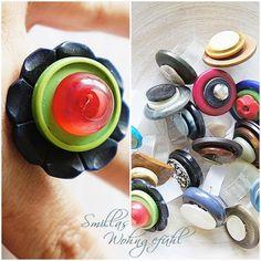 DIY Ring from old buttons / Anleitung für Ringe aus alten Knöpfen