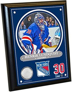 This Custom Framed Henrik Lundqvist 8 Inches By 10 Inches Plaque Has A Piece Of Game Used Uniform. Commemorate Henrik Lundqvist and The New York Rangers With This Amazing Piece. Steiner Sports Is The Official Memorabilia Provider Of The New York Rangers and Madison Square... more details available at https://perfect-gifts.bestselleroutlets.com/gifts-for-holidays/collectibles-fine-art/product-review-for-henrik-lundqvist-8-inches-by-10-inches-player-plaque-with-authentic-game-u