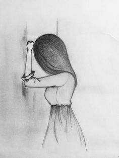 Drawing the sad girl pencil sketching, pencil sketches easy, pencil drawing tutorials, drawing Easy Pencil Drawings, Cool Easy Drawings, Sad Drawings, Pencil Drawing Tutorials, Drawing Ideas, Pencil Sketching, Figure Drawings, Drawings Of People Easy, Drawing Designs