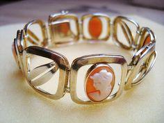 Klassisches Armband Muschelkamee Kamee Gemme 800 Silber vergoldet Art Nachlass