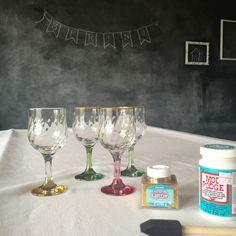 Glittered Wine Glasses -*dishwasher safe Mod Podge * foam paint brush * extra fine glitter. visit itstartedwithahouse.com for full tutorial. FullSizeRender-36