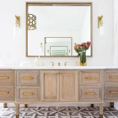 Natural wood vanity in a master bathroom. Bathroom Trends, Chic Bathrooms, Bathroom Inspo, Bathroom Designs, Bathroom Ideas, Country Bathrooms, Beach Bathrooms, Small Bathrooms, Bad Inspiration