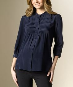 Take a look at this Paris Navy Hudson Silk Maternity Button-Up Top by Rosie Pope Maternity on #zulily today!