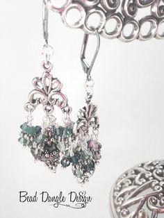 Deep Green & Blue Beaded Dangle Earrings