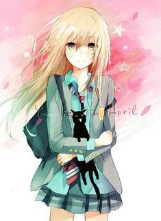♡ Girl... Blonde Hair... Blush... Your Lie In April (or in Japanese, Shigatsu wa Kimi no Uso)... Black Cat... Miyazono Kaori... Anime ♡